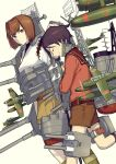 2girls airplane androgynous belt black_hair brown_eyes brown_hair closed_eyes hand_on_another's_head hand_on_head hyuuga_(kantai_collection) japanese_clothes kantai_collection mogami_(kantai_collection) multiple_girls nakatani personification sailor_collar short_hair shorts skirt smile