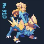 1girl blonde_hair boots kuromiya manectric personification pokemon pokemon_(creature) tagme thigh-highs thigh_boots