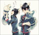 1boy 1girl black_hair fuu_(pokemon) gym_leader hair_bun hair_ribbon meowstic okii payot pokemon pokemon_(creature) pokemon_(game) pokemon_rse pokemon_xy ran_(pokemon) ribbon siblings twins white_background