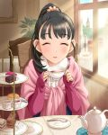 1girl black_hair bus cafe cake car chair closed_eyes cup double-decker_bus elizabeth_tower food fukuyama_mai hair_ornament idolmaster idolmaster_cinderella_girls indoors jam jpeg_artifacts lamppost london looking_at_viewer motor_vehicle official_art ponytail pov_across_table saucer scone scrunchie shawl sitting smile solo table tea tea_set tea_stand teacup teapot tiered_tray vehicle window winter_clothes