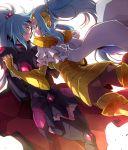 2girls arai_nobu armor blue_hair cape gemini_integra gemini_paradox holding_hands long_hair multiple_girls pink_eyes ponytail saint_seiya saint_seiya_omega siblings sisters