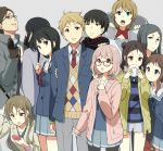 >:o 3boys 6+girls :o black_gloves black_hair blazer brown_hair cardigan cellphone coat double_bun everyone fujima_miroku glasses gloves grey_background inami_sakura kanbara_akihito kanbara_yayoi kuriyama_mirai kyoukai_no_kanata long_hair multiple_boys multiple_girls nase_hiroomi nase_izumi nase_mitsuki necktie ninomiya_shizuku open_cardigan open_mouth phone sasamori_tomoe scarf school_uniform serafuku shindou_ai shindou_ayaka shirt short_hair shorts simple_background smartphone smile striped striped_shirt sweater