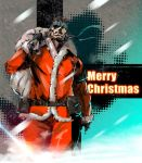 1boy beard belt belt_pouch big_boss blue_eyes brown_hair christmas eyepatch facial_hair gloves headband ikuyoan manly merry_christmas metal_gear_solid sack santa_costume smoke solo