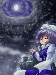 1girl blush breasts closed_eyes cloudy_sky cup fujimiya_kikyou gibbous_moon hand_rest hat juliet_sleeves knee_up lavender_hair layered_dress letty_whiterock long_sleeves night night_sky puffy_sleeves rock scarf short_hair sky smile snowing solo steam touhou