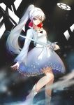 1girl absurdres blue_eyes dress highres jewelry lancefate light_smile long_hair necklace ponytail rapier rwby solo sword weapon weiss_schnee white_hair