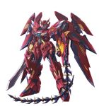 glowing glowing_eyes gundam gundam_epyon knight_epyon mecha no_humans sd_gundam sd_gundam_gaiden simple_background sword takamaru weapon whip white_background wings