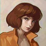 1girl april_o'neil brown_hair face ilya_kuvshinov jumpsuit lips short_hair solo teenage_mutant_ninja_turtles
