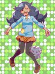 1girl black_hair black_legwear blush_stickers braid closed_eyes dark_skin espurr happy irouha long_hair matiere_(pokemon) open_mouth pantyhose patches pokemon pokemon_(creature) pokemon_(game) pokemon_xy polka_dot polka_dot_background skirt smile sweater torn_clothes twin_braids