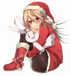 :3 blonde_hair blush boots bow christmas fujikiti hat long_hair original pantyhose red_eyes santa_costume santa_hat sitting stuffed_animal stuffed_bunny stuffed_toy |_|