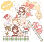 3boys 5girls bow box chibi christmas dog gamagoori_ira gift gift_box guts_(kill_la_kill) hair_bow harime_nui hat inumuta_houka jakuzure_nonon kill_la_kill kiryuuin_satsuki mankanshoku_mako march-bunny matoi_ryuuko multiple_boys multiple_girls reindeer_antlers sanageyama_uzu santa_costume santa_hat senketsu twintails