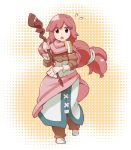 1girl boots brown_eyes dress kanami_yuu log_horizon long_hair open_mouth red_hair serara solo staff