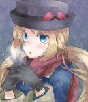 1girl black_gloves blonde_hair blue_eyes breath gloves hat interlocked_fingers irouha long_hair looking_at_viewer pokemon pokemon_(game) pokemon_xy porkpie_hat scarf serena_(pokemon) snowing solo winter_coat