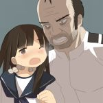 1boy 1girl angry crossover grand_theft_auto grand_theft_auto_5 hatsuyuki_(kantai_collection) kantai_collection teardrop trevor_philips zakone