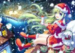 blue_eyes boots capelet christmas christmas_tree gift green_eyes green_hair hat lake long_hair miyase_mahiro original sack santa_costume santa_hat skirt smile snowing snowman town