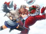 bald beard belt boots clenched_teeth coat facial_hair fingerless_gloves gift gloves hat itou_(onsoku_tassha) original payot punching santa_claus santa_costume santa_hat school_uniform serafuku shoes sneakers sweater thigh-highs zettai_ryouiki