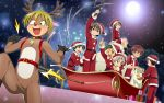 6+boys :3 animal_costume antlers bag bell bell_collar black_hair blonde_hair blue_eyes blush brown_eyes brown_hair christmas collar fang gift gloves green_hair grin hat highres moon multiple_boys open_mouth original red_eyes redhead reindeer_costume saku_baribari santa_costume santa_hat schoolboys! short_hair shorts sleigh smile snow whip white_hair yellow_eyes