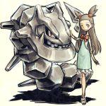 1girl brown_hair dress gym_leader hair_ornament lowres meitei mikan_(pokemon) pokemon pokemon_(creature) pokemon_(game) pokemon_gsc sandals sexual_dimorphism steelix sundress