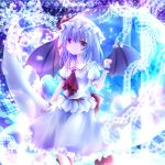 bat_wings blue_hair crescent dress frills furomaaju_(fromage) hat hat_ribbon laces puffy_sleeves remilia_scarlet ribbon short_hair short_sleeves sitting skirt touhou violet_eyes wings