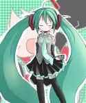1girl absurdly_long_hair arms_behind_back blush closed_eyes green_hair hatsune_miku necktie shichinose skirt smile solo thighhighs twintails vocaloid