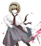 blonde_hair blue_eyes fork hairband knife marisu pantyhose short_hair solo touhou