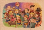 ana_(mother) backpack bag baseball_bat blonde_hair blue_eyes boney brothers brown_eyes brown_hair cap character_request claus dog doseisan duster_(mother) earthbound everyone flint friends glasses hanokage hat holding_hands jeff jeff_andonuts kumatora loid lucas mother mother_(game) mother_2 mother_3 mr_saturn ness ninten nintendo paula_polestar pink_eyes pink_hair poo salsa_(mother) shirt short_hair short_twintails siblings striped striped_shirt teddy_(mother) trashcan twintails
