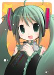1girl blush green_eyes green_hair hatsune_miku long_hair looking_at_viewer open_mouth shichinose smile solo twintails vocaloid