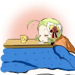 cup drill_hair drooling green_hair hair_ornament kanaria kotatsu mug rozen_maiden saliva shiro-inu sleeping table twin_drills