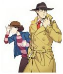 2boys black_eyes black_hair border bowler_hat curly_hair fedora glasses grey_background gyakuten_kenji gyakuten_kenji_2 gyakuten_saiban hand_in_pocket hand_on_another's_face hand_on_forehead hand_on_own_face hat jacket leaning leaning_forward long_sleeves male mitsurugi_shin multiple_boys necktie notepad open_mouth overcoat pencil profile reka shigaraki_tateyuki shirt simple_background spoilers striped striped_shirt teenage teeth younger
