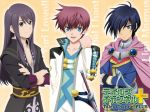 3boys ahoge aqua_eyes asbel_lhant black_hair blue_eyes grey_eyes leon_magnus long_hair multiple_boys namco official_art open_mouth purple_hair red_hair short_hair smile sword tales_of_(series) tales_of_destiny tales_of_graces tales_of_vesperia weapon yuri_lowell