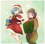 2girls animal_costume anshinmama blue_eyes blue_hair capelet carrying choker dress frills gift hat hood kaname_madoka mahou_shoujo_madoka_magica miki_sayaka multiple_girls pink_eyes pink_hair reindeer_costume santa_costume santa_hat short_hair