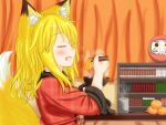 1girl aburaage animal_ears blonde_hair chopsticks closed_eyes cup eating fang food fox_ears fox_tail fruit japanese_clothes kimono kitsune kitsune_udon korai open_mouth orange original smile tail