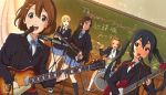 5girls akiyama_mio black_eyes black_hair blonde_hair blue_eyes brown_eyes brown_hair chalkboard drum drum_set dutch_angle guitar hirasawa_yui instrument k-on! kanau kotobuki_tsumugi long_hair microphone multiple_girls nakano_azusa school_uniform short_hair synthesizer tainaka_ritsu