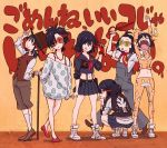 6+girls alternate_costume check_translation glasses hat highres jacket jpeg_artifacts kill_la_kill matoi_ryuuko multicolored_hair multiple_girls multiple_persona official_art school_uniform senketsu sushio translated two-tone_hair
