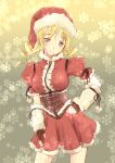 1girl blonde_hair breasts christmas corset detached_sleeves drill_hair fingerless_gloves gloves hat long_hair mahou_shoujo_madoka_magica pleated_skirt santa_costume santa_hat skirt smile snow solo tomoe_mami wa_(genryusui) yellow_eyes