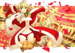 1girl ahoge bell blonde_hair breasts christmas cleavage fate/extra fate_(series) greaves green_eyes hair_ribbon hat holly petals ribbon saber_extra sack santa_costume santa_hat sexy44 solo