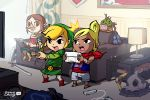 /\/\/\ 1boy 2girls beak blonde_hair brown_hair character_request circlet controller dark_skin finni_chang game_controller gamepad hat instrument link long_hair medli monitor_light multiple_girls neckerchief nintendo_3ds playing_games pointy_ears red_eyes shield shorts sword tetra the_legend_of_zelda toon_link tunic violin weapon wii_remote wii_u wind_waker