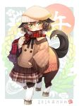 1girl animal_ears blush brown_hair centaur green_eyes hat horse_ears kito_(sorahate) looking_at_viewer monster_girl open_mouth original scarf short_hair solo tail
