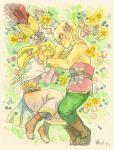 blonde_hair blue_eyes flower link loftwing long_hair lying nintendo piggy_ho_ho princess_zelda skyward_sword smile the_legend_of_zelda traditional_media