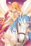 1girl bare_shoulders blonde_hair breasts center_opening cleavage detached_sleeves feathers green_eyes happy_near_year horse_riding kedama_keito long_hair looking_at_viewer open_mouth original smile solo unicorn wings