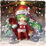 1girl bell chibi christmas detached_sleeves green_eyes green_hair hat hatsune_miku kayi long_hair open_mouth reindeer_antlers sack santa_costume santa_hat sleeves_past_wrists snow solo spring_onion star thighhighs twintails very_long_hair vocaloid