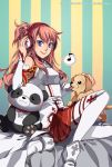 1girl asuna_(sao) breastplate detached_sleeves dog finni_chang headphones long_hair musical_note pink_hair pleated_skirt ponytail puppy skirt smile stuffed_animal stuffed_toy sword_art_online teddy_bear thighhighs white_legwear yuuki_asuna