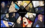 antenna_hair axel beard black_hair blonde_hair blue_eyes blue_hair brown_hair cloak closed_eyes dark_skin demyx doyamatsu earrings facial_hair facial_mark gloves green_eyes grey_hair hair_over_eyes highres instrument jewelry kingdom_hearts larxene lexaeus long_hair luxord marluxia organization_xiii pink_hair pointy_ears redhead roxas saix scar short_hair silver_hair sitar vexen violet_eyes xaldin xemnas xigbar xion_(kingdom_hearts) yellow_eyes zexion