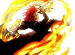 1boy a5_arashi axel chakrams cloak facial_mark fire gloves green_eyes kingdom_hearts redhead simple_background solo