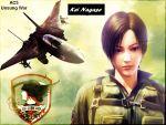 1girl ace_combat ace_combat_5 airplane black_hair brown_eyes character_name emblem f-14 fighter_jet jet kei_nagase pilot pilot_suit short_hair wallpaper