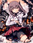 1girl bike_shorts blush brown_eyes brown_hair burnt_clothes flat_chest headband highres kantai_collection looking_at_viewer mistrail personification short_hair skirt solo taihou_(kantai_collection) tears thighhighs torn_clothes wreckage