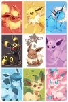 ahoge eevee espeon fang finni_chang flareon glaceon jolteon leaf leafeon no_humans no_pupils pokemon pokemon_(creature) red_sclera smile sylveon umbreon vaporeon wink