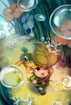 1boy blonde_hair ezlo finni_chang leaf link living_clothes miniboy minish_cap rain running the_legend_of_zelda toon_link water_drop