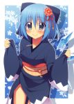 1girl alternate_costume blue_eyes blue_hair blush bow cirno flower hair_bow hair_flower hair_ornament ice ice_wings japanese_clothes kimono long_sleeves looking_at_viewer obi oniku-chan sash smile solo touhou wide_sleeves wings
