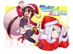 aile ashe brown_hair fur_trim gloves green_eyes hat merry_christmas ponytail rockman rockman_zx santa_costume santa_hat shigehiro_(artist) short_shorts shorts silver_hair wink