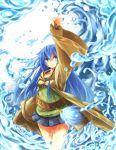 1girl blue_eyes blue_hair breasts duel_monster eria long_hair looking_away miniskirt skirt solo suno-pi water yuu-gi-ou